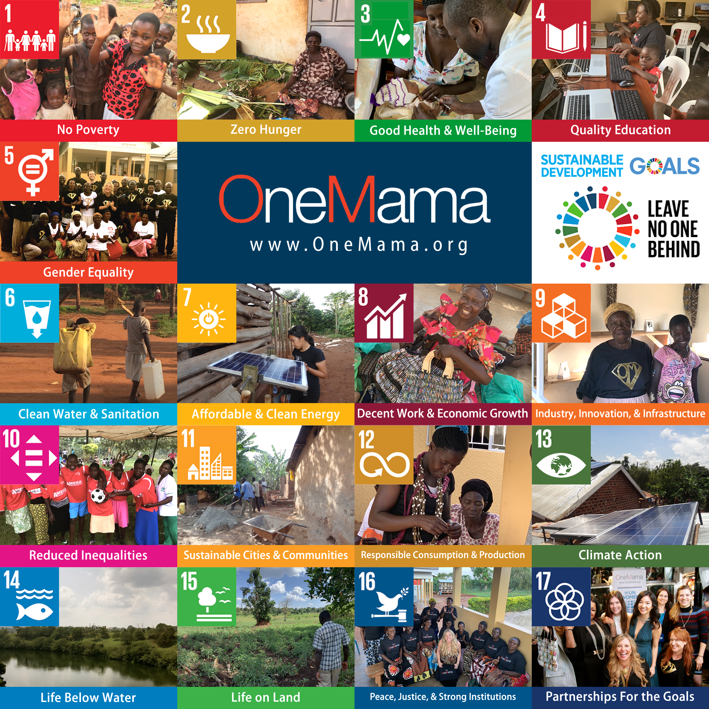 OneMama leads the way with the following Sustainable Development Goals